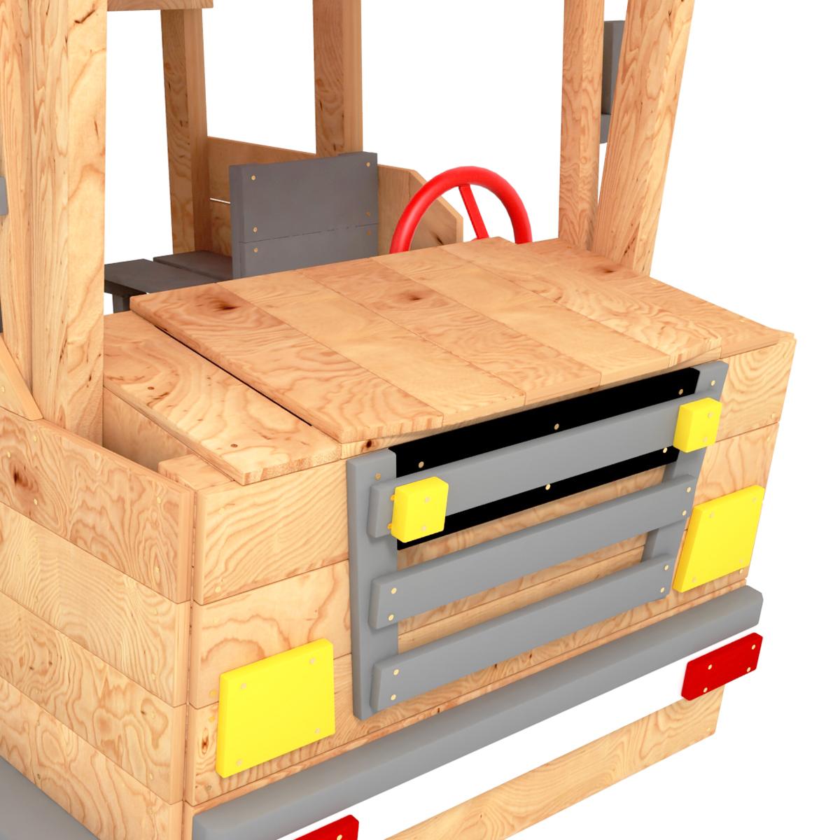 Spielturm Feuerwehrauto mit Motorhaube von BIBEX