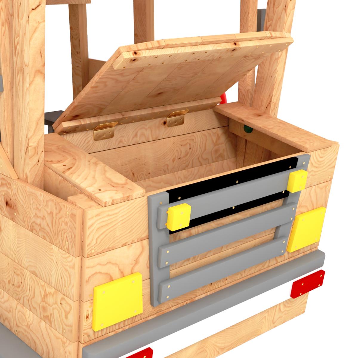 Spielturm Feuerwehrauto mit offener Motorhaube von BIBEX